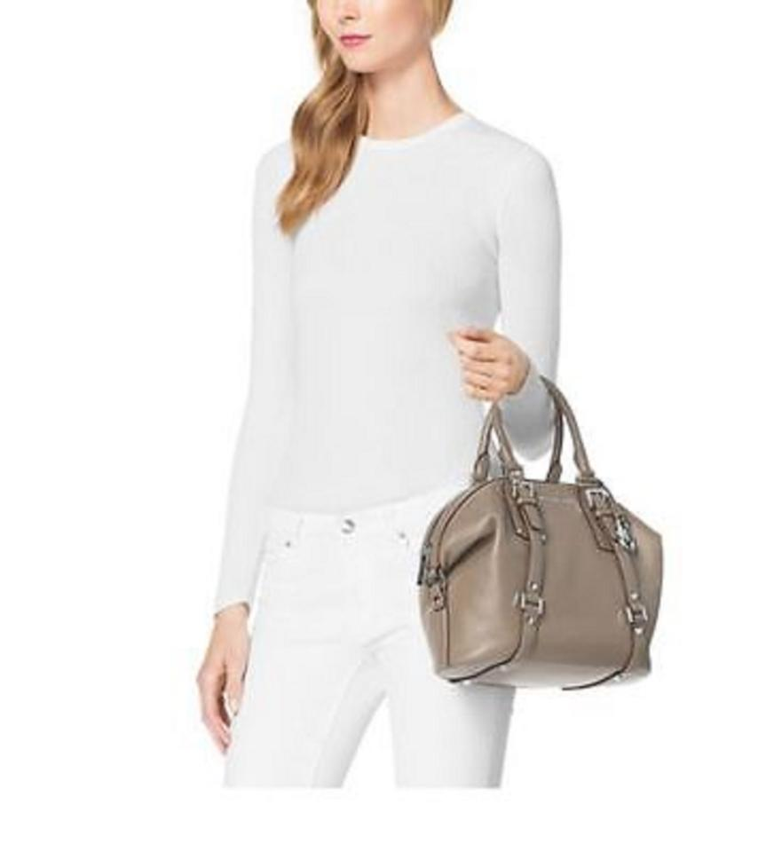 8c203a452f3f Michael Kors Bedford Belted Medium Leather Satchel in Dark Taupe Image 5.  123456