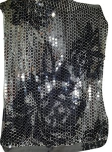 Body Central Sequin Two In One Tube Dressy Or Casual Has One Side Sequined And Sheer As Shown In Photo With Slacks Or Jeans Worn Is Top Silver/Grey/Black