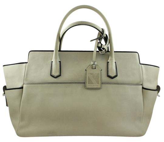 Reed Krakoff Designer Handbag Leather Tote in Taupe with Black Trim