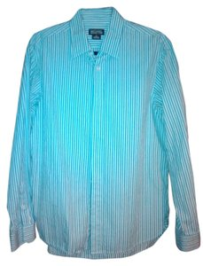 Michael Kors Pin Striped 100% Cotton Button Up Button Down Shirt Striped Blues
