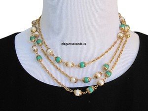 Chanel SALE!!! AUTH.CHANEL NECKLACE JADE GREEN, PEARL & SAUTOIR 53