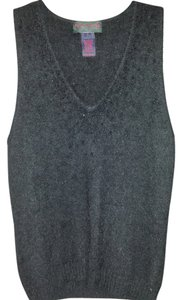 Ralph/Ralph Lauren collection Beaded Detail Elegant Classic Top Black angora sleeveless sweater with beads