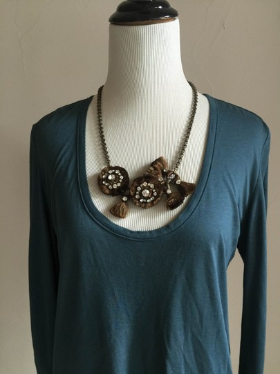 Chloé Chloe Brass Chain Floral Necklace with Crystals Image 3
