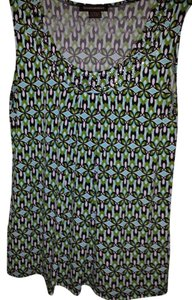 Susan Lawrence Green/white/black Print Can Be Worn Slacks Or Skirt And Blazer Or Jeans As Casual Wear Top Green/Black/White with silver studded neckline