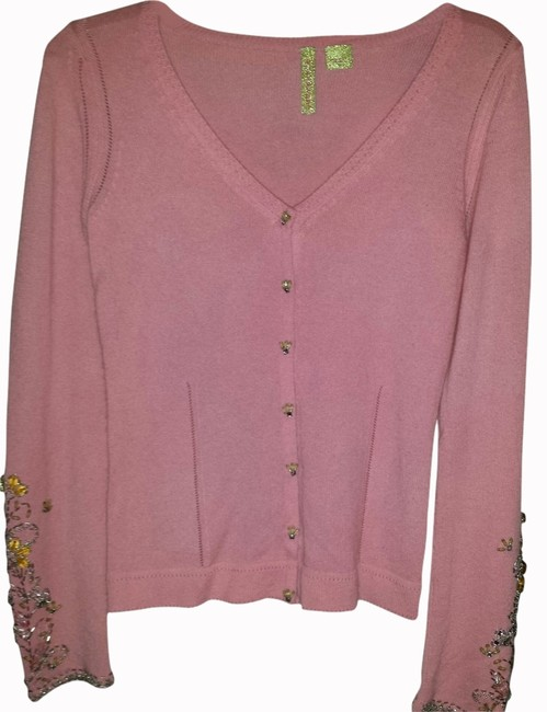 Charlotte Tarantola Pink Beaded Very Ornate Sleeves Beaded Buttons Unique Piece For Any Wardrobe Cardigan