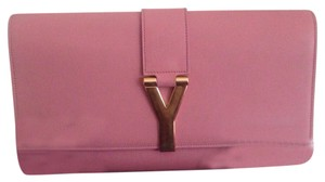 USED YSL SAINT LAURENT 100% LEATHER PINK CLUTCH WITH