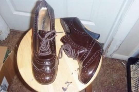 Bongo Western Style. Leather Cowgirl Boot Heels chocolate brown Pumps