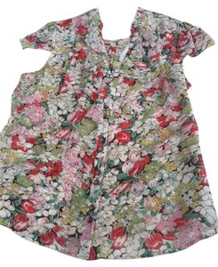 Odille Silk Top red/green/white/peach Floral