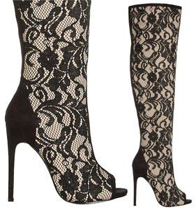 1 Madison Victorian Penny Dreadful Steampunk Costume Cream Suede and Black Lace Boots