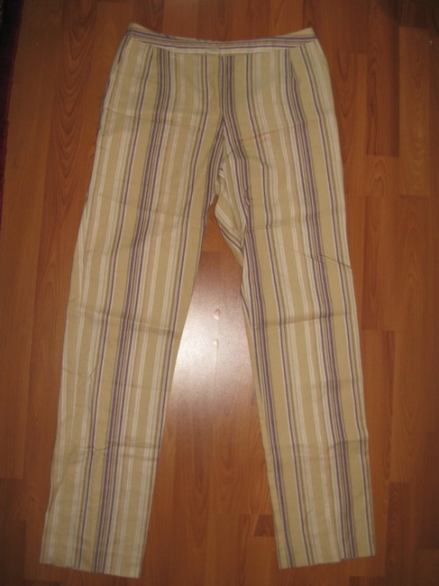 bern and mort Striped Straight Pants beige with purple and pink Image 1
