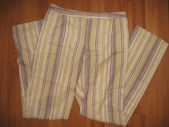 bern and mort Striped Straight Pants beige with purple and pink Image 2