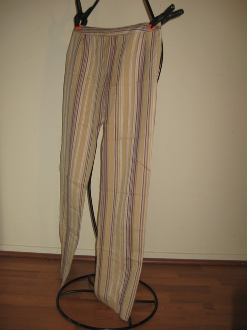 bern and mort Striped Straight Pants beige with purple and pink Image 4