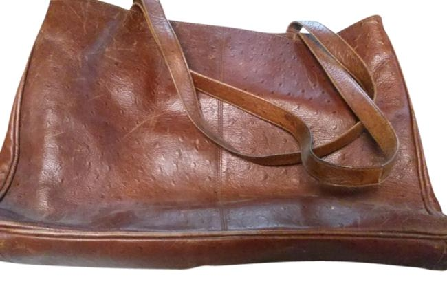 Item - Large Brown Orange Ostrich Leather Tote