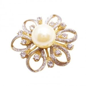 Gold Flower Brooch Fully Embedded W/ Diamante & Ivory Pearls At Center