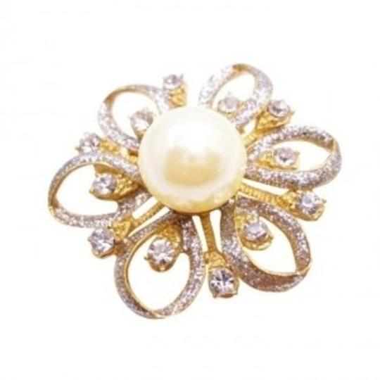 Preload https://item5.tradesy.com/images/gold-flower-fully-embedded-w-diamante-ivory-pearls-at-center-broochpin-145919-0-0.jpg?width=440&height=440