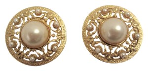 Spingarn Vintage Spingarn Gold Plated Pearl Cabochon Clip Earrings Fleur di Lys SIGNED