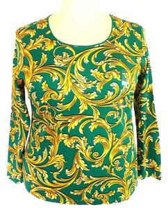 Karen Scott Plus Size Fashion Long Sleeve Top NEW Green, Gold & Black
