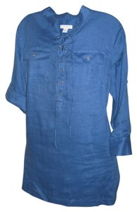 Charter Club 100% Linen Top blue
