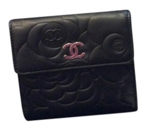 Chanel Chanel Black Camellia Flower Quilted Lambskin Wallet