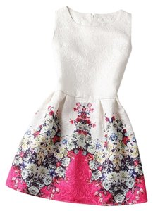 Other short dress Red Bubble White Vintage Rose Sleeveless on Tradesy