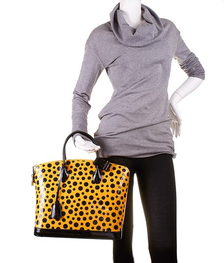 Louis Vuitton Lockit Mm Infinity Dots Vernis Leather Tote in Yellow & Black