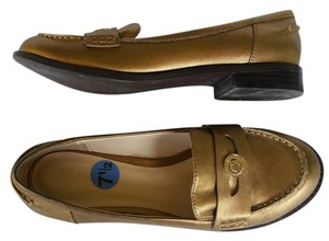 C. Wonder Leather Loafers Penny Loafers Gold Flats
