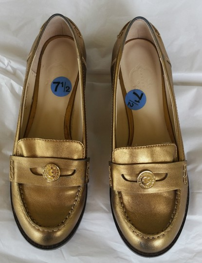 C. Wonder Leather Loafers Penny Loafers Gold Flats Image 1