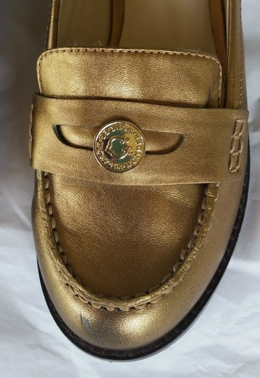 C. Wonder Leather Loafers Penny Loafers Gold Flats Image 2