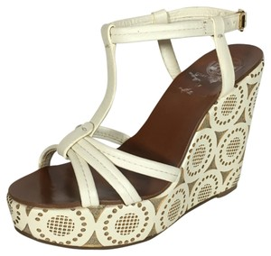 Tory Burch Sandals White Natural Wedges