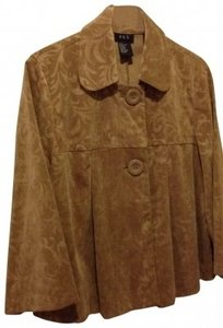 RQT Great Fun Jacket In Soft Golden Touchable Fabric. Cute Round Collar Design. Jacket Gold Tan Round Collar Fun Work Top golden tan Blazer