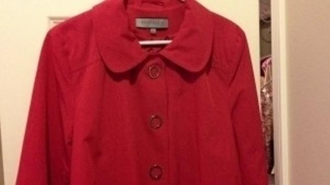 Anne Klein Spring 14 L Round Collar Raincoat Jacket 14 L Large Round Collar Vintage Look Classic A-line Swing Lined Geometric Coat