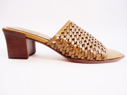 Cole Haan Woven Leather Narrow Open Toe Small Low Heels Sandal Tan Wedges