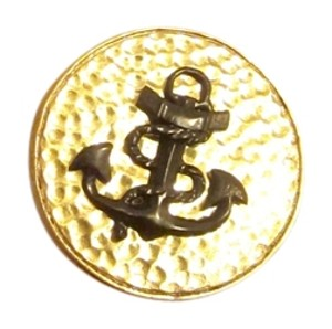 Julie Vos New Textured Gold with Black Anchor Nautical Clip Earrings