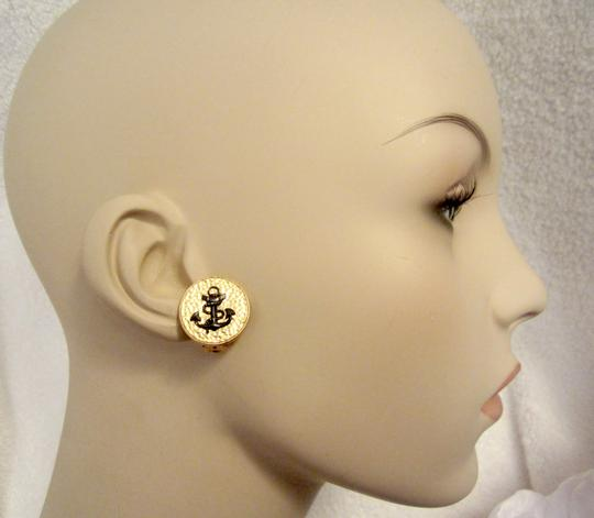 Julie Vos New Textured Gold with Black Anchor Nautical Clip Earrings Image 1