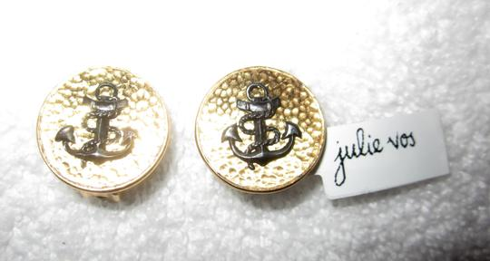 Julie Vos New Textured Gold with Black Anchor Nautical Clip Earrings Image 3
