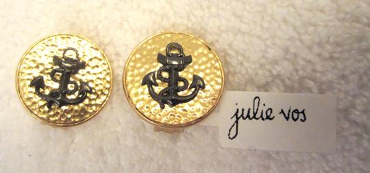 Julie Vos New Textured Gold with Black Anchor Nautical Clip Earrings Image 4