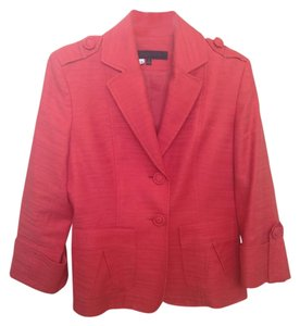 Anne Klein 3/4 Sleeve Cotton Linen Coral Blazer