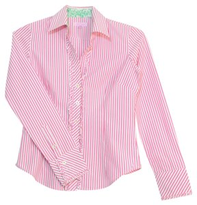 Lilly Pulitzer Long Sleeve Cotton Button Up Button Down Shirt Pink and White