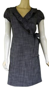 The Limited short dress Blue Wrap Navy Weave Ruffle on Tradesy