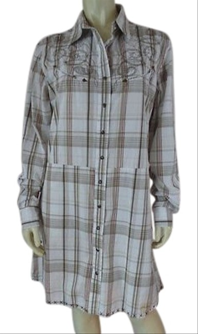 Item - Cowgirl Dress White Browns Red Plaid Cotton Snap Front Embroidery Western Chic