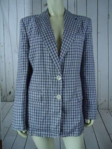 Ralph Lauren Ralph Lauren Blazer Blue White Plaid Linen Lined Button Front Preppy Chic