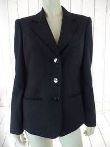 Anne Klein Anne Klein Blazer Black Poly Viscose Stretch Button Front Lined Classy Chic
