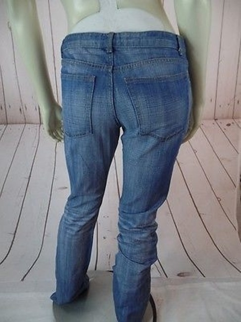 Theory Faded Distressed Blue Denim Cotton Low Rise Hot Straight Leg Jeans Image 10