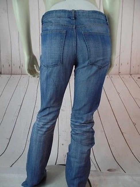 Theory Faded Distressed Blue Denim Cotton Low Rise Hot Straight Leg Jeans Image 6