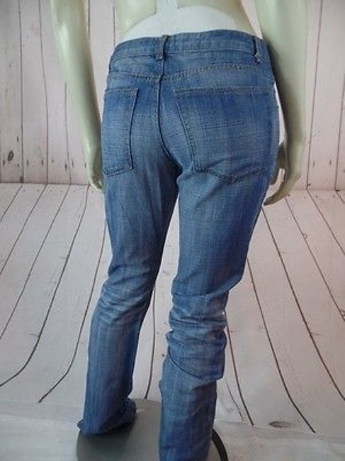 Theory Faded Distressed Blue Denim Cotton Low Rise Hot Straight Leg Jeans Image 7