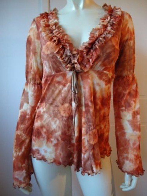 Item - Sweet Pea Knit Top Boho Pullover Ruffled V-neck Bell Sleeves Floral Hippie Hot