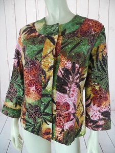 Chico's Chicos Blazer 1 Cotton Multicolor Hidden Snap Front Sequin Beaded Floral Chic