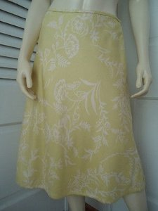 Ann Taylor Textured Silk Floral Lined Classy Skirt Citron with White Prints