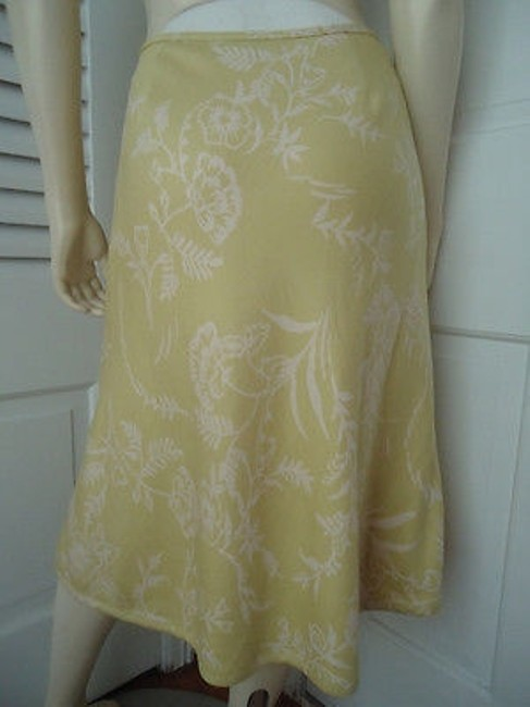 Ann Taylor Textured Silk Floral Lined Classy Skirt Citron with White Prints Image 2