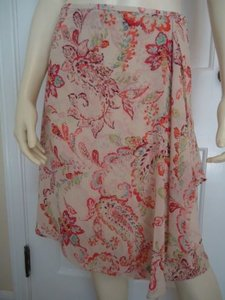 Ann Taylor Petites 2p Sheer Silk Faux Wrap Paisley Floral Lined Stunning Skirt Multi-Color